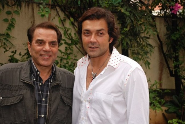 Bobby Deol as seen with his father and actor Dharmendra