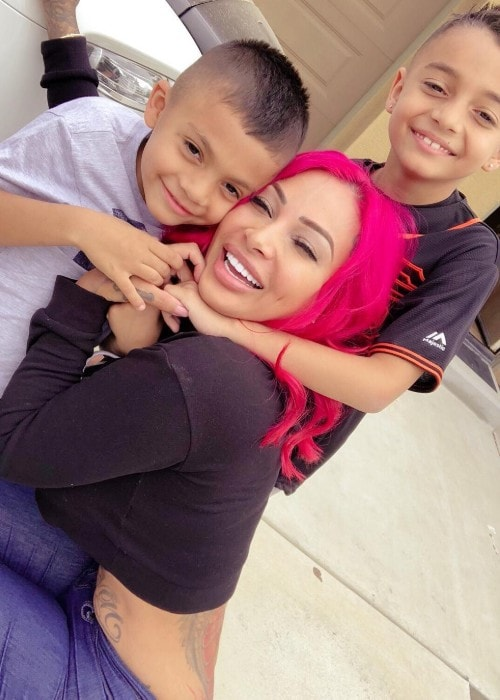 Brittanya Razavi with her kids as seen in May 2018