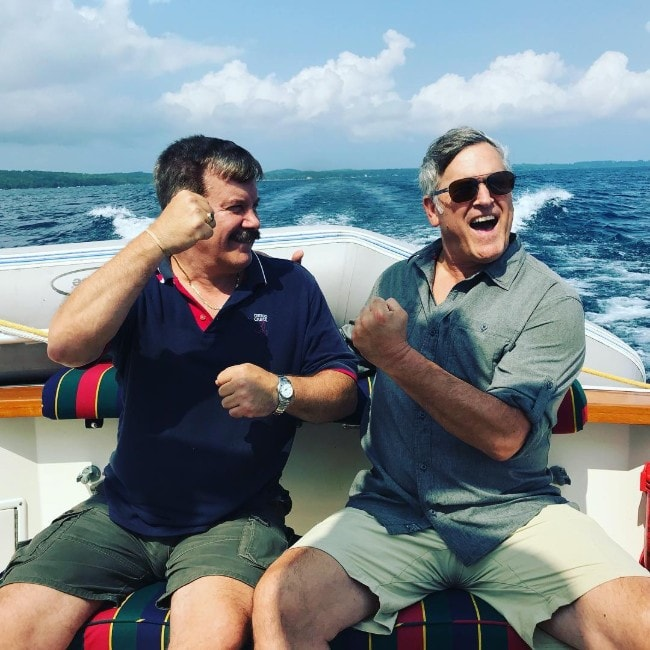 Bruce Campbell with his friend as seen in August 2018