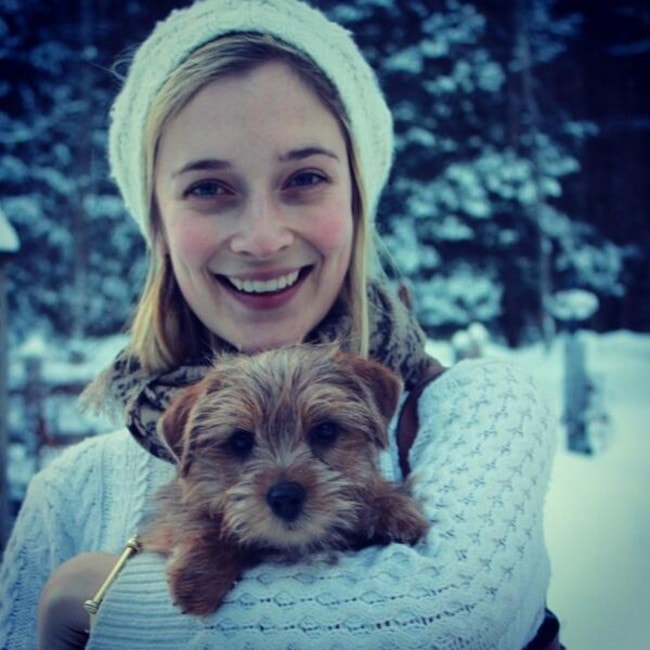 Caitlin FitzGerald with her dog as seen in February 2014