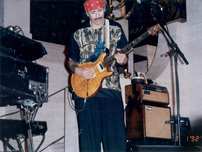 Carlos Santana while giving a performance in San Francisco, California in March 1992