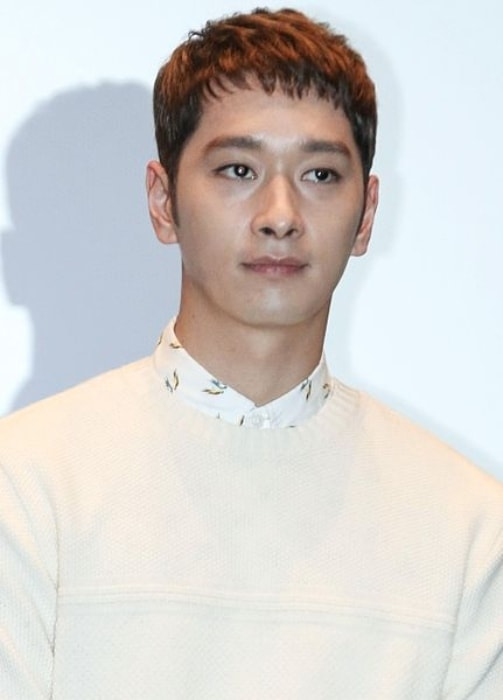 Chansung as seen at the press conference for the film Red Carpet in October 2014