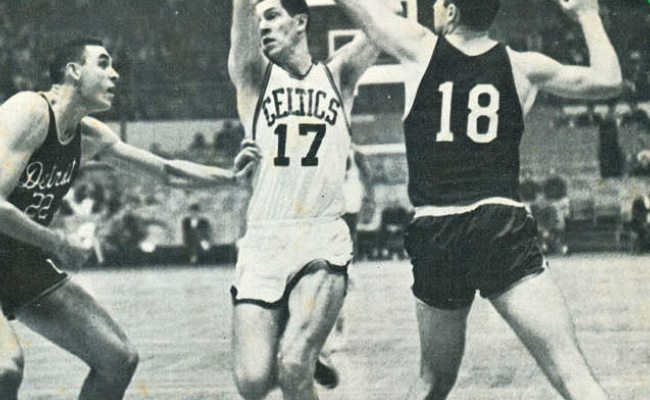 Dave DeBusschere (Left), John Havlicek (Center), and Terry Dischinger (Right) during a match in 1964