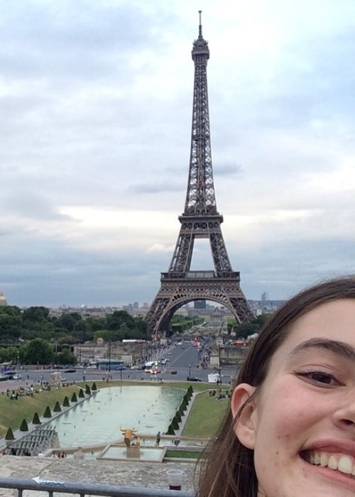 Diana Silvers as seen while taking a selfie in Paris, France with the Eiffel Tower in the backdrop in June 2015
