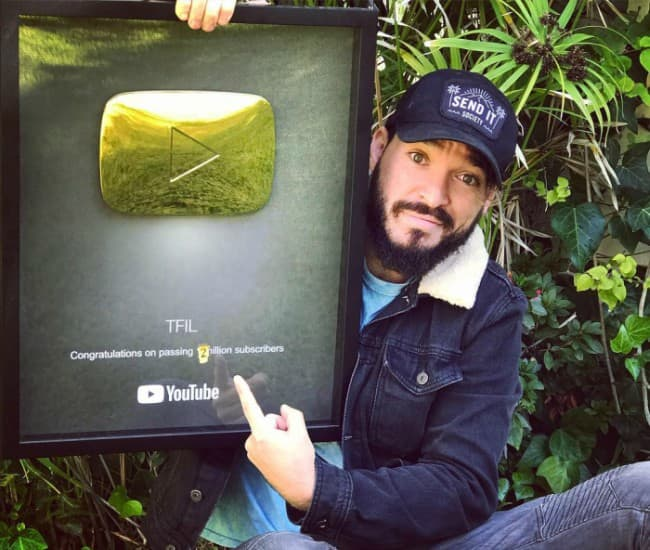 Elton Castee with his Gold YouTube Play Button as seen in October 2018
