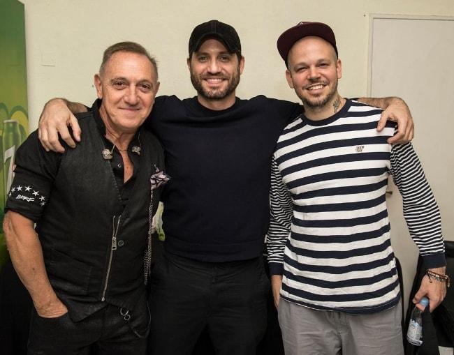 Franco De Vita as seen while posing for a picture with actor Edgar Ramirez (Center) and musician René Pérez Joglar (Right) in Buenos Aires, Argentina in November 2017