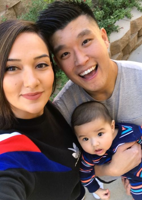 Geovanna Antoinette taking a selfie with husband Bart Kwan and son Taika Kwan
