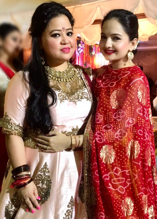Giaa Manek as seen in a picture with Stand-up Comedian Bharti Singh taken in December 2017