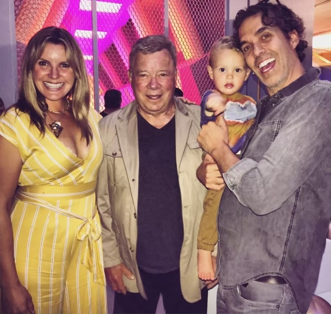 Grace Potter with William Shatner (Center) and her partner, Eric Valentine, and their little baby boy in June 2019 while they all spent some time walking through the set of the Star Trek Original Series