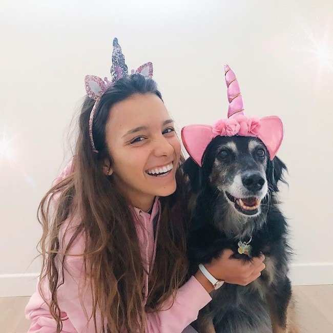 Iris Ferrari with her dog Perla as seen in February 2019