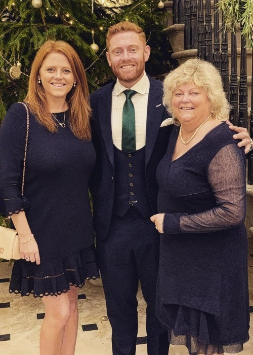 Jonny Bairstow with his mom and sister Rebecca as seen in December 2018
