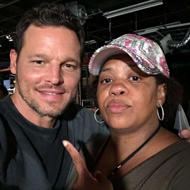 Justin Chambers as seen while posing for a picture with Chandra Wilson in August 2017