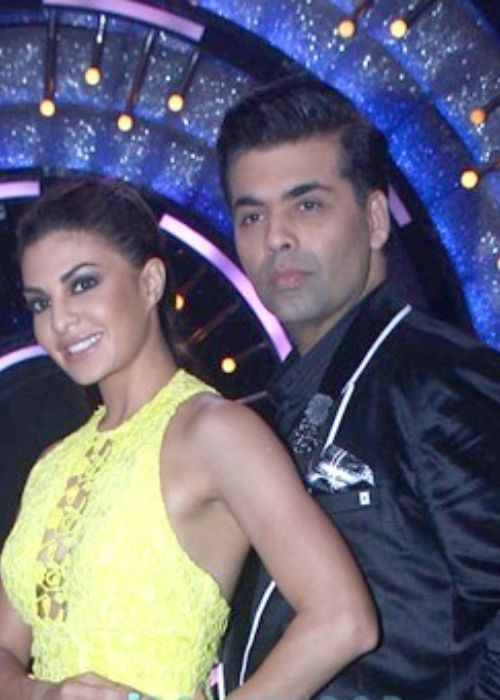 Karan Johar posing with Jacqueline Fernandez on the sets of Jhalak Dikhhla Jaa Season 9 in 2016