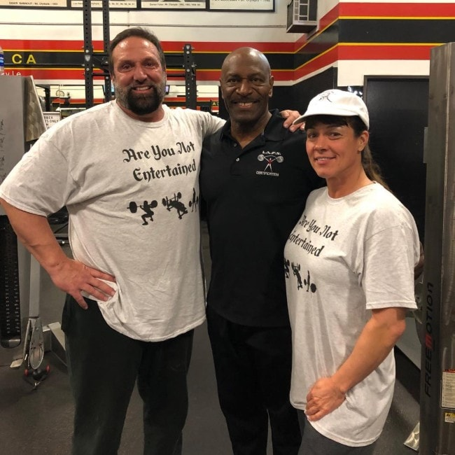 Lee Haney with his friends as seen in January 2019 at the Gold's Gym Venice, California