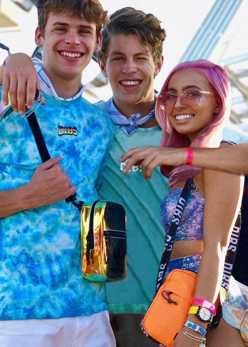 Lexi Hensler as seen in a picture with social media sensations Caleb Burton and Ben Azelart in Indio, California in April 2019