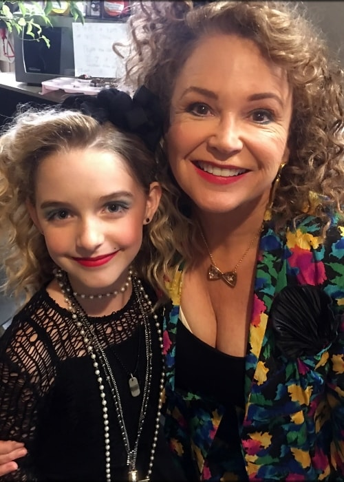Mckenna Grace (Left) as seen while posing for a picture with Gail Edwards on the 'Fuller House' set in September 2017