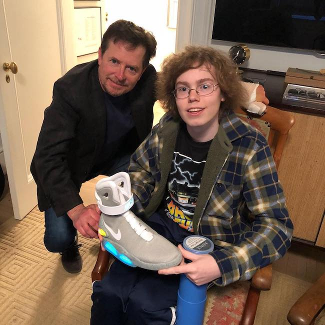 Michael J. Fox with J. J. from Quicy MA in November 2018