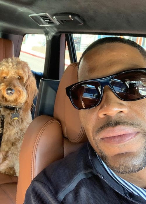 Michael Strahan in a selfie with his dog as seen in December 2018