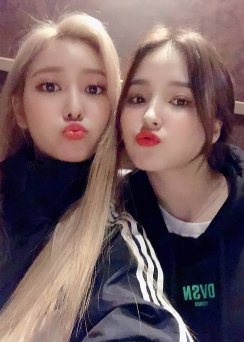 Nancy Jewel McDonie as seen while posing for a selfie with her 'Momoland' groupmate, Jane, in February 2019