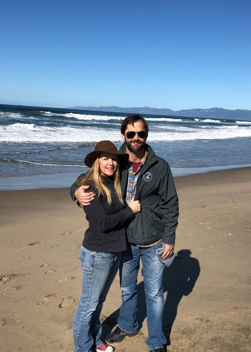 Renee O'Connor as seen in a picture with her beau Jed Sura at Manhattan Beach, California in February 2019