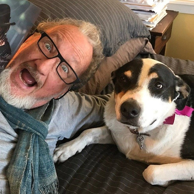 Robert Englund with his dog as seen in April 2017