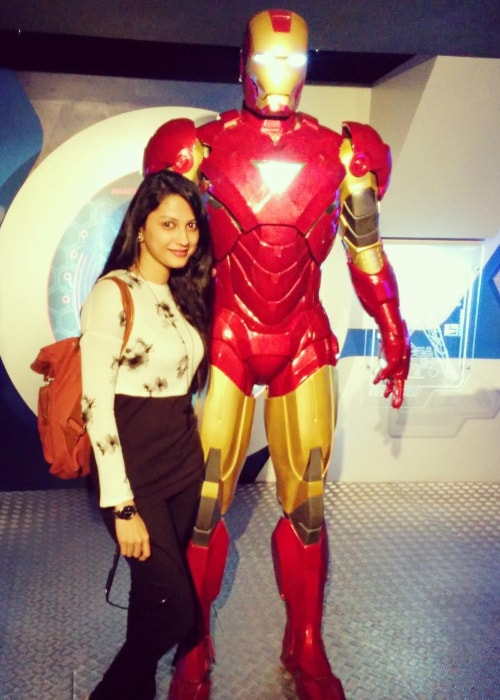 Rucha Hasabnis as seen in a picture standing beside a wax replica of Iron Man at Madame Tussauds London in June 2017