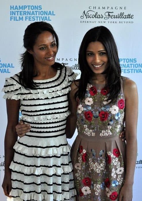 Rula Jebreal (Left) and Freida Pinto as seen in October 2010