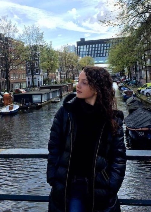 Stefania LaVie Owen as seen while posing for a picture with a beautiful backdrop in Amsterdam, Netherlands in April 2016