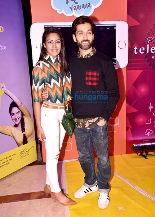 Surbhi Chandna as seen in a picture with her co-star from Ishqbaaz Nakuul Mehta at an event of Saas Bahu Aur Saazish in November 2017