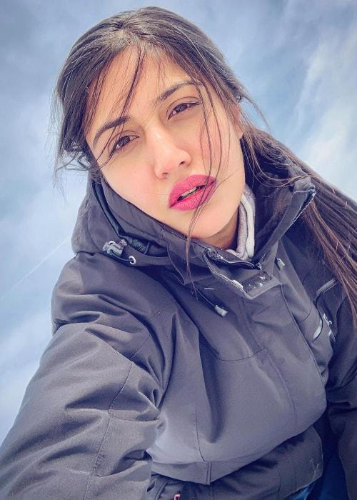 Surbhi Chandna as seen in a selfie taken in St Moritz, Graubünden, Switzerland in March 2019