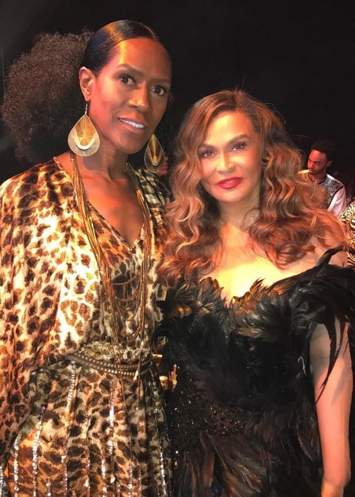 Tina Knowles (Right) as seen while posing for the camera with her friend, Eula Ree, at the Wearable Art Gala 2019