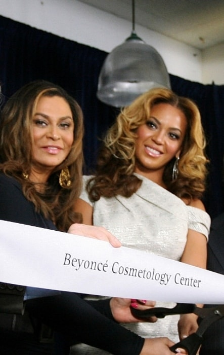 Tina Knowles as seen while posing for a picture with her daughter, Beyonce, at the release of Beyoncé Cosmetology Center in October 2010