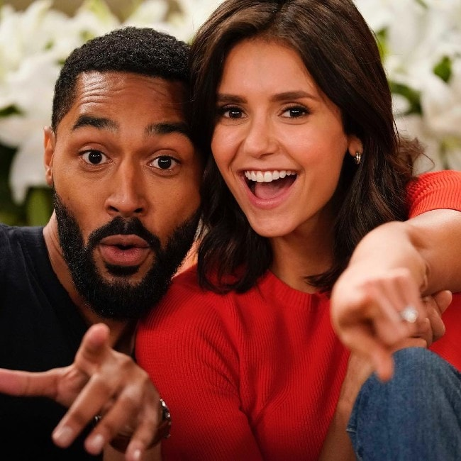 Tone Bell with co-star Nina Dobrev at the CBS Studio Center as seen in January 2019