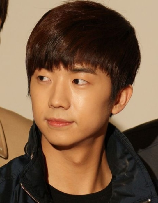 Wooyoung at the movie Beyond the ONEDAY press conference in April 2012