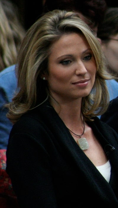 Amy Robach as seen in a picture while co-hosting the 'Today Show' in Rockefeller Plaza in New York City, New York, United States in October 2008