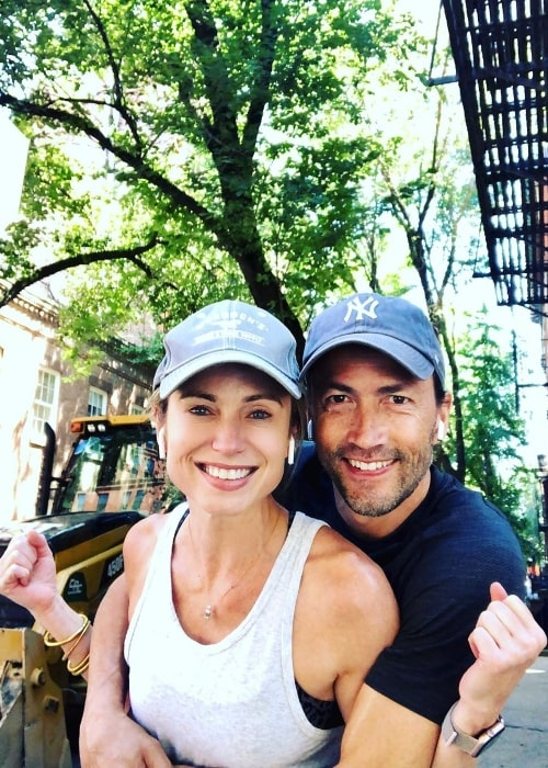 Amy Robach as seen in a picture with Andrew Shue in New York City, New York, United States in July 2019
