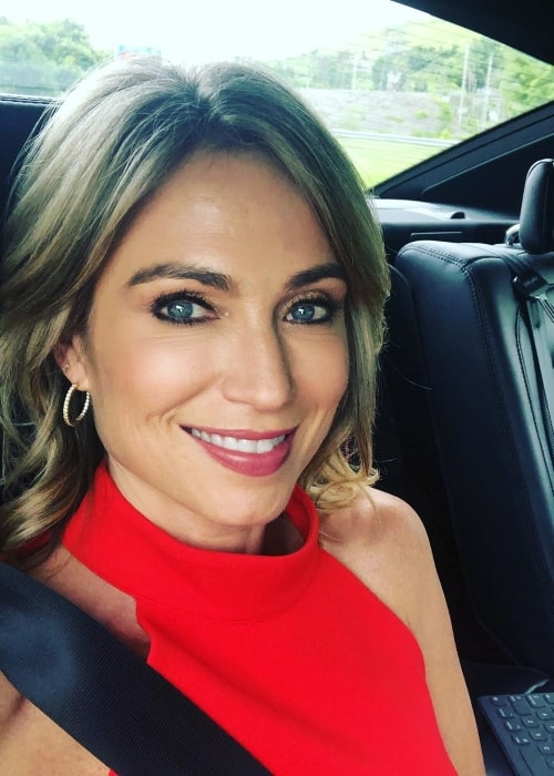 Amy Robach as seen while taking a car selfie in Pennsylvania, United States in June 2019