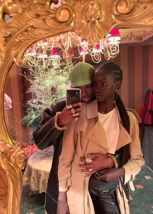 Anok Yai as seen while posing for a mirror selfie along with Alton Mason in Pigalle, Paris, France in January 2019
