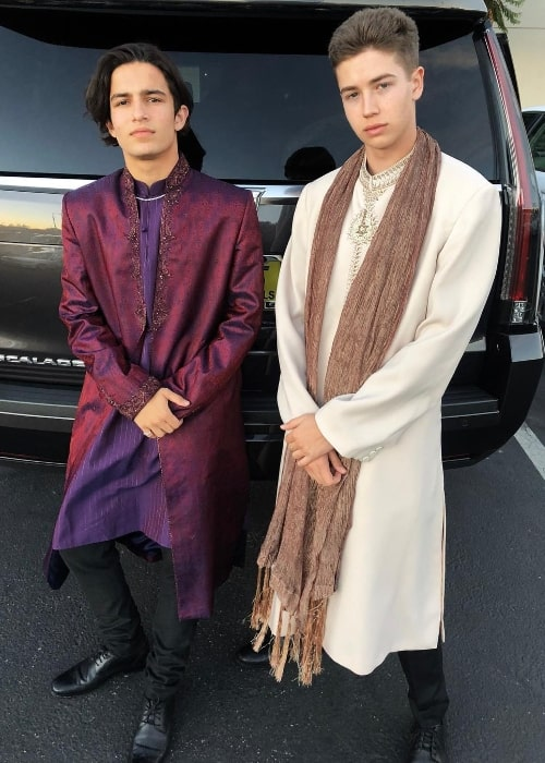 Aramis Knight (Left) as seen while posing for a picture alongside Garrett Ryan while wearing an Indian outfit in October 2018 in San Francisco, California, United States