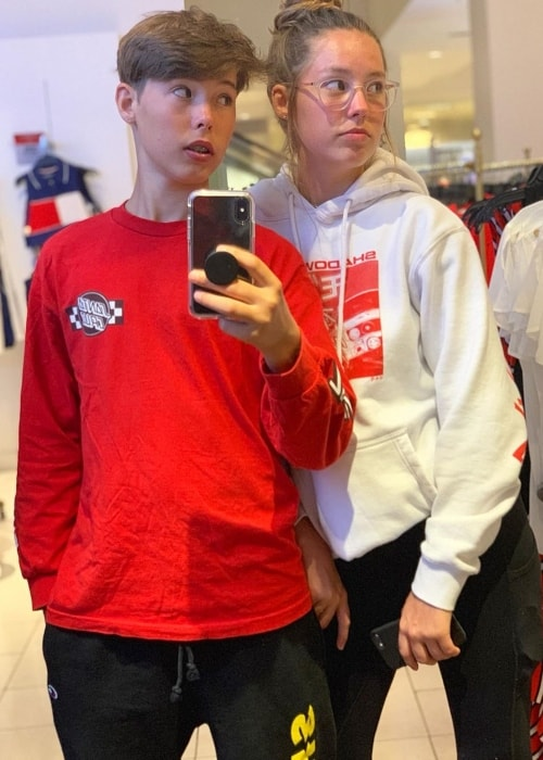 Caleb Coffee as seen while taking a mirror selfie with his sister, Peyton Coffee, in August 2019