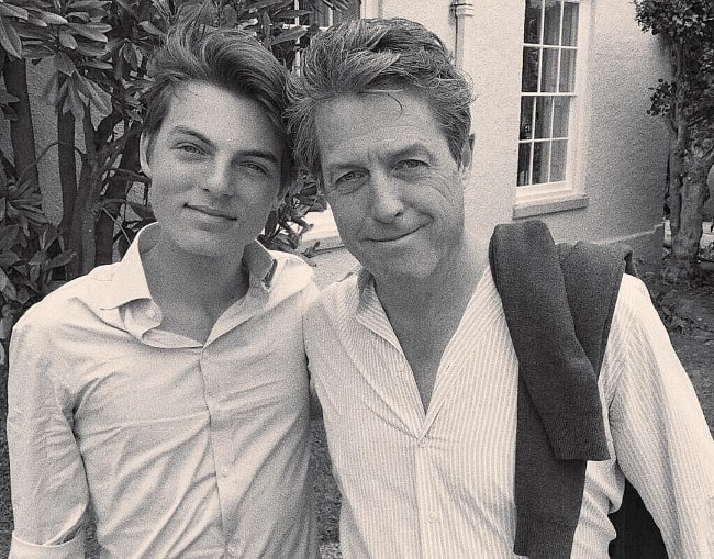 Damian Hurley as seen while posing for a black-and-white picture along with his godfather, Hugh Grant, in June 2017