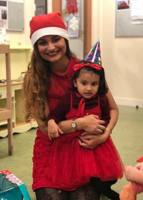 Dimpy Ganguli as seen in a picture taken with her daughter Reanna Roy in Fontainebleau, France in December 2018