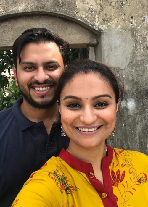 Dimpy Ganguli as seen in a selfie with her husband Rohit Roy taken in Barddhaman, West Bengal in August 2019