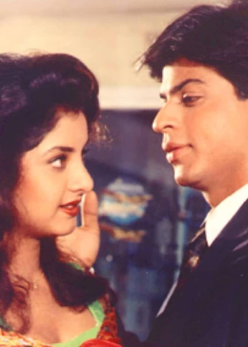 Divya Bharti as seen in a picture with actor Shahrukh Khan in the film Deewana in 1992