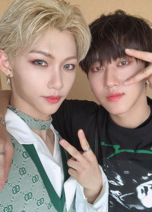 Felix as seen while taking a selfie alongside his 'Stray Kids' groupmate, Changbin, in June 2019