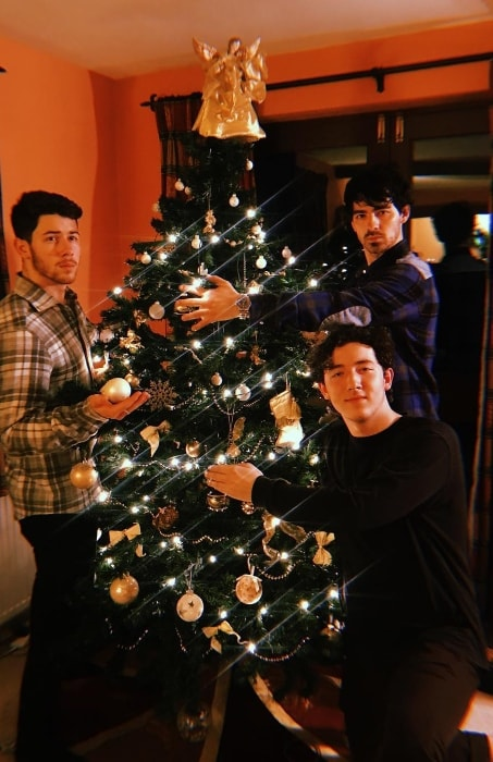 Frankie Jonas as seen while posing for a Christmas picture alongside his older brothers, Nick Jonas (Left) and Joe Jonas (Standing behind Frankie), in December 2018