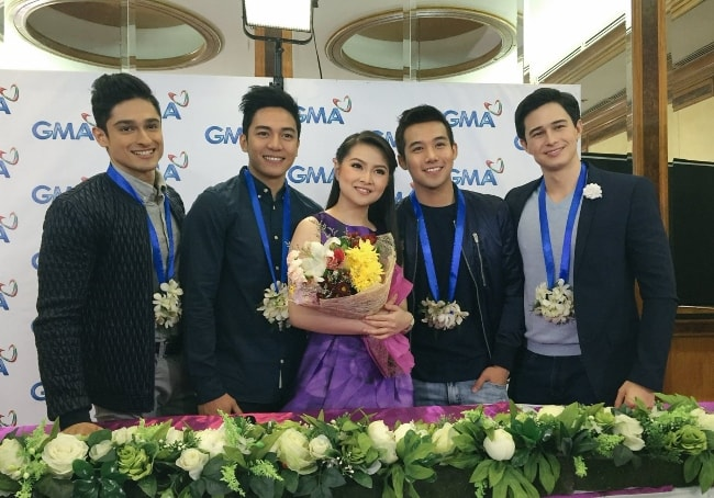 From Left to Right - Addy Raj, Jak Roberto, Barbie Forteza, Ken Chan, and Ivan Dorschner as seen while posing for a picture at the 'Meant to Be' production presentation in November 2016