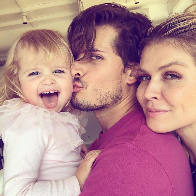 Gleb Savchenko with wife Elena Samodanova and younger daughter Zlata in May 2019