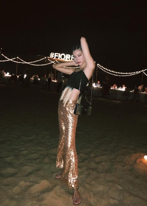 Hikari Mori as seen while posing for a picture in a stunning outfit in Dubai Desert in October 2018