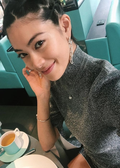 Hikari Mori as seen while taking a selfie at the Tiffany & Co. store located in 5th Avenue, New York City, New York, United States in October 2018